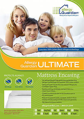 Allergy Guardian Queen Bed Cover Anti Dust Mite Bed Bug - 100% Cotton