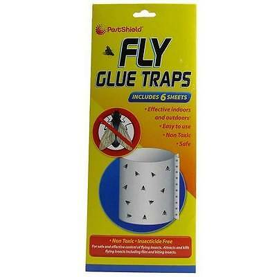 ** Pest Shield Fly Glue Traps New ** 6 Sheets Non Toxic Easy To Use