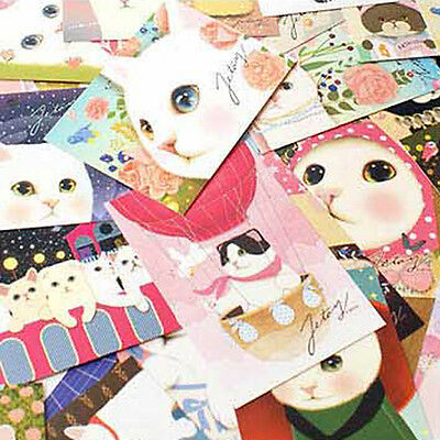5pc Cute Cat Postcard Decorative Gift Cartoon Card Collage (Free Shipping)
