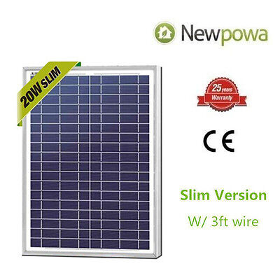 NewPowa High Quality 20W 12V Polycrystalline Solar Panel RV Camping Waterproof