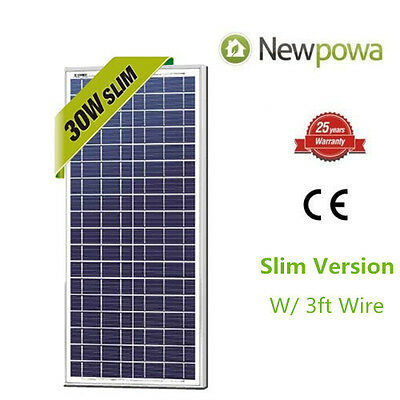 NewPowa High Quality 30W 12V Polycrystalline Solar Panel RV Camping Waterproof