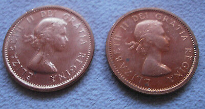LOT 2 Canada Canadian small cents one cent penny coin 1964