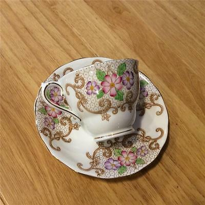 Colclough Intricate Floral and Scroll Design China Cup and Saucer 6621 Gorgeous