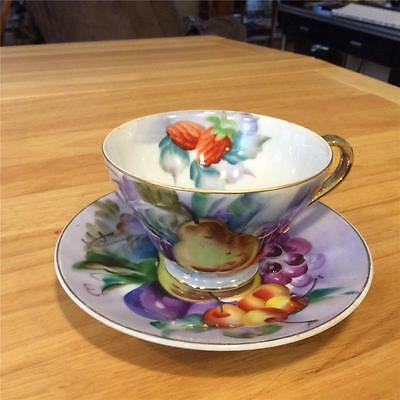 Napco Hand Painted China Cup and Saucer, Fruit Motif, Lovely