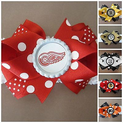 NHL Team Hair Bow With or W/O Headband Baby Toddler *Your Choice *SHIPS FREE