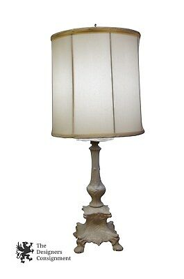White Porcelain French Style Table Lamp Candlestick Vintage 32 W