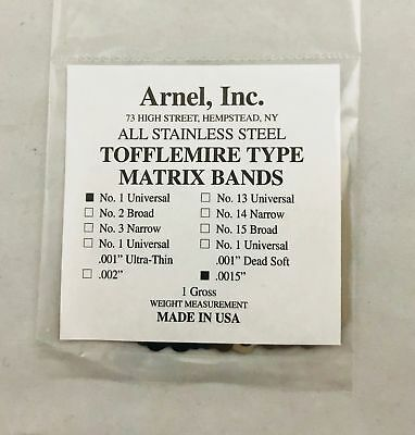 Tofflemire Stainless Steel Matrix Bands #1 .0015 Universal Gross Pk 144 Dental
