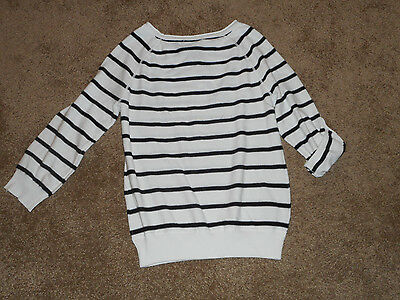 NWT Grace Elements Womens Striped Pullover Sweater-3/4 Sleeves-Multi-Colors/size