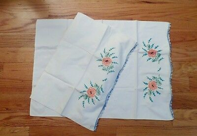 Vintage White Linen Scalloped Hand Embroidered Shabby Floral Chic Pillow Cases