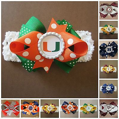 College Team Hair Bow With or W/O Headband Baby Toddler*Your Choice*SHIPS FREE