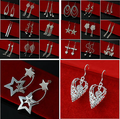 Sterling Silver Plated Jewelry Pendant Dangling Drop Earrings Valentine Day Gift
