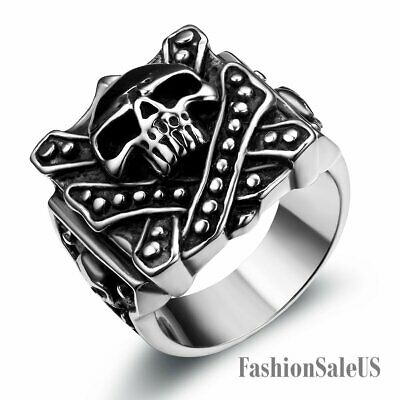 New Punk Big Heavy Pirate Skull Stainless Steel Ring Mens Boys Band Silver&Black