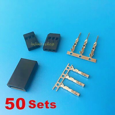 50 Sets 3 Pin Male Female Housing with Pins Connector For JR Futaba
