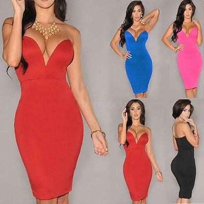 Sexy Women Lady Deep V Neck backless Club Strapless Bodycon Party Evening Dress