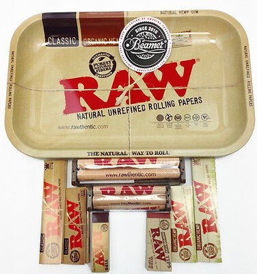 Raw Rolling Paper King & 1.25 1 1/4 Size Combo Tray+Papers+Tips+Rolling Machine