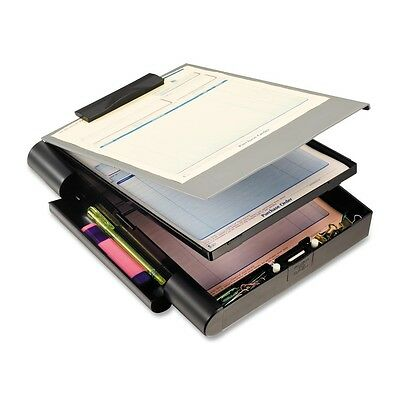 Officemate Recycled Double Storage Clipboard Forms Holder Plastic Gray/Black