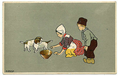 Artist Signed. Illustrateur. R. Caputi. Enfants. Children. Chiens. Dogs. Puppïes
