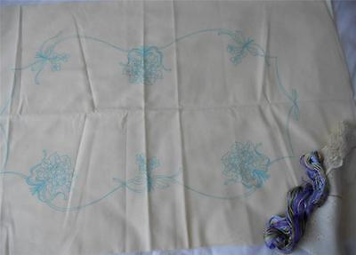 Vintage Family Circle Violets Pillow Slip Embroidery Kit All Fabric Lace Threads