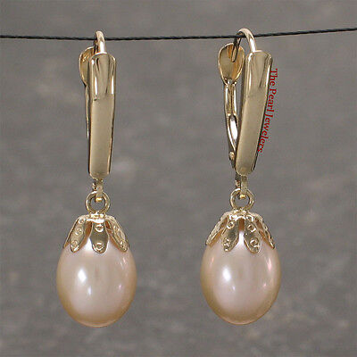14k Yellow Gold Euro Back W/ Shield & Cup; Pink Cultured Pearls Dangle Earrings