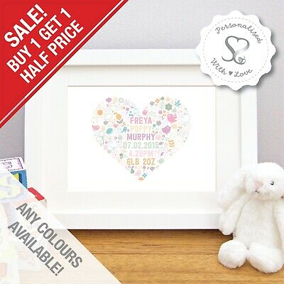 Personalised New Baby Gift Woodland Heart Birth Details Art Print Christening