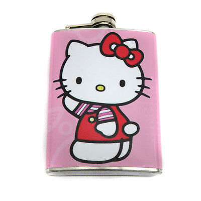 Hello Kitty Pink Stainless Steel Hip Flask With Screw On Hinged Cap