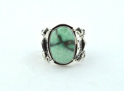 Native American Navajo Indian Jewelry SS High Grade Damele Turquoise Ring 10
