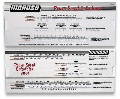 Moroso 89650 Power-Speed Calculator Slide Rule - HP, 1/4 Mile MPH/ET & More!