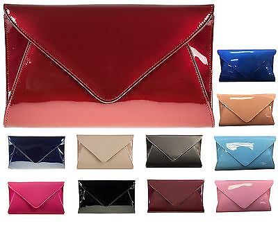 Patent Leather Bridal Party Wedding Prom Evening Clutch Handbag Nude Fushia Navy