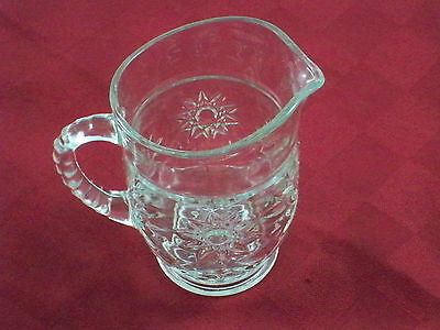 Anchor Hocking Star and Sunburst EAPG Prescut Clear Pitcher 16oz Ribbed Handle