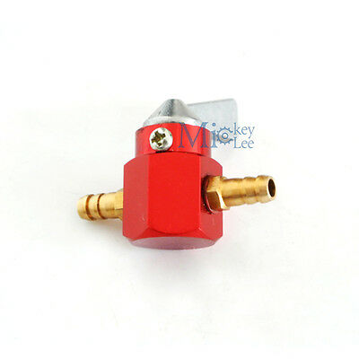 6mm Inline Petrol Fuel Tap Petcock Valve Switch Fit Pit Dirt Bike Scooter Red