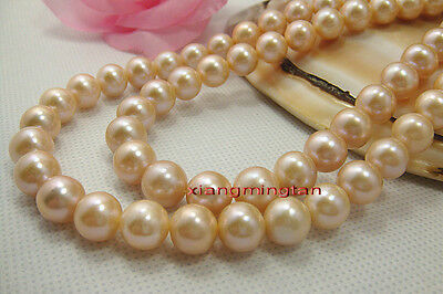 """AAAAA 35""""10-11mm Natural real south sea gold PINK pearl necklace 14K GOLD"""