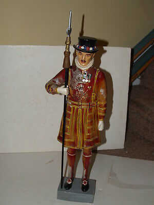 "Vintage 1950s Hard Rubber Beefeater Yeoman Guard Figure - 26"" Tall W/ Staff"