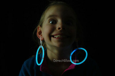 White (Tinted Blue) Glow Stick Clip On Hoop Earrings and Bracelets