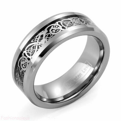 8mm Celtic Dragon Inlay Tungsten Carbide Band Men's Ring New