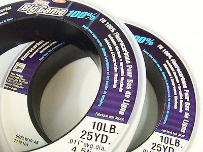 "2 x BERKLEY ""BIG GAME"" 100% FLUOROCARBON LEADER MAX INVISIBILITY ~ 10LB ~ 2 PACK"