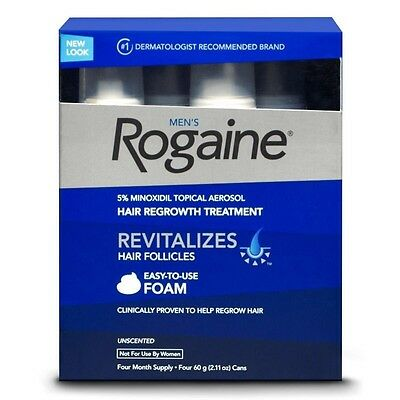Rogaine Hair Regrowth for Men 5% Minoxidil Topical Foam 4-month Supply 4 CANS.