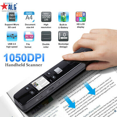 iScan Handheld Portable 1050DPI Scanner A4 Book Photo Handyscan+8GB+Hard Case