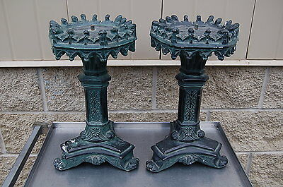 """+ Pair of Heavy Ornate Plaster Altar Candlesticks + 17"""" tall + + chalice co. +"""
