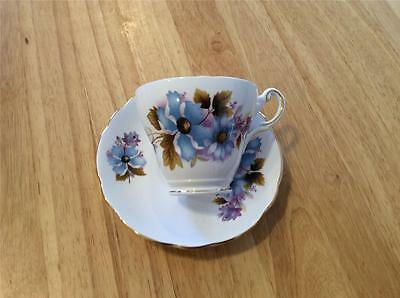 Regency Bone China England Blue Floral Pattern, Cup and Saucer. Classic