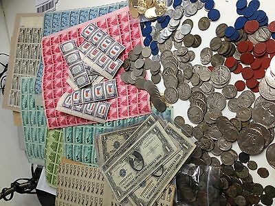 ESTATE LOT(33 pc) WWII BU COINS SILVER CURRENCY Ration Stamps/Tokens Postage#%25