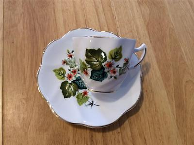 Royal Dover/Lefton England Cup and Saucer Floral and Leaves, Gold Trim