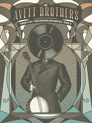The Avett Brothers 2/5/2015 Tucson AZ Poster Signed & Numbered #/200