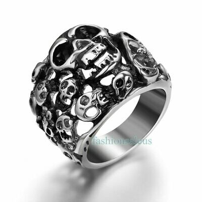 Fashion Cool Stainless Steel Band Punk Style Hollow Skulls Men's Ring  Size 8-13