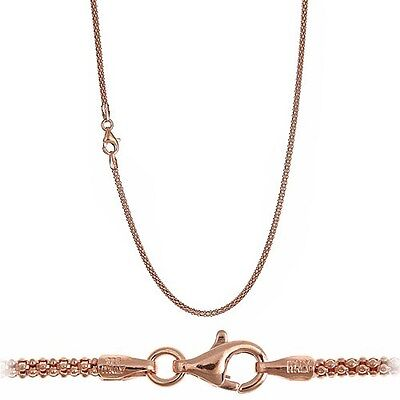 18K Pink Rose Gold over 925 Sterling Silver 1.9mm Italian Popcorn Chain Necklace