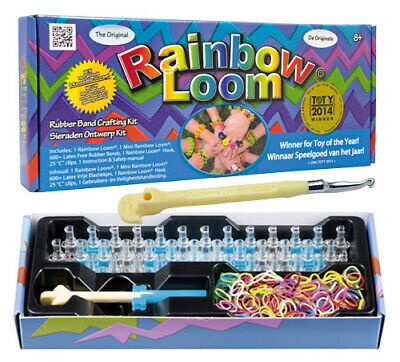 Rainbow Loom® Starter Set Box ORIGINAL Webrahmen Metallhaken 600 Bänder + Clips