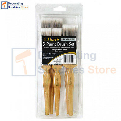 Harris Platinum Paint Brushes Set of 5 Synthetic Paint Brush With Wooden Handles