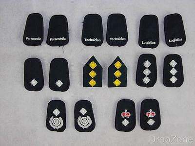 Pair of Cloth Clip on Ambulance Service Collar Badges / Tabs, Assorted Ranks