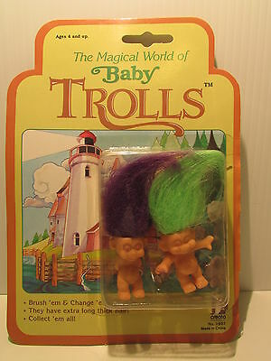 "TWO MINI BABY TROLLS -  2"" Gigo ToyTroll Dolls - NEW ON CARD - Rare"