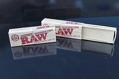 2 PACKS RAW GUMMED TIPS Perforated Cigarette Rolling Paper tips Chemical FREE!