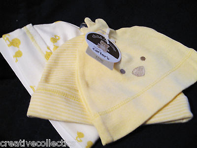 NWT Carter's Baby/Infant 3 Pack Caps/Hat  0-3 Months Boy/Girl/Unisex Chicks,Duck